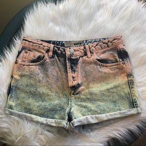 2/$40-Top shop Moto Acid Washed Jean Shorts
